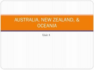 AUSTRALIA, NEW ZEALAND, & OCEANIA