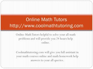 Online Math Tutors coolmathtutoring