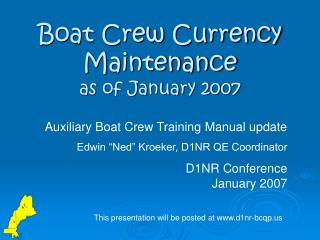 Boat Crew Currency Maintenance as of January 2007