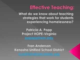 Effective Teaching: