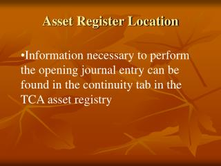 Asset Register Location