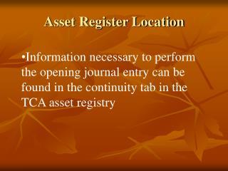 Asset Register Location