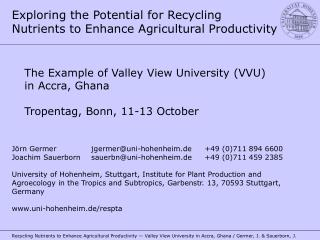 Exploring the Potential for Recycling Nutrients to Enhance Agricultural Productivity