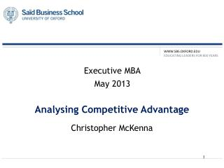 Analysing Competitive Advantage
