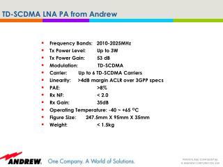 TD-SCDMA LNA PA from Andrew