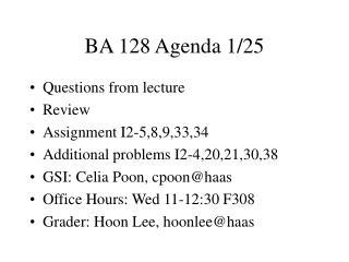 BA 128 Agenda 1/25