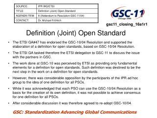 Definition (Joint) Open Standard