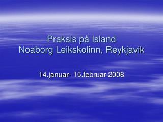 Praksis på Island  Noaborg Leikskolinn, Reykjavik