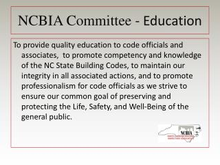 NCBIA Committee  - Education
