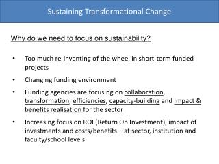 Sustaining Transformational Change