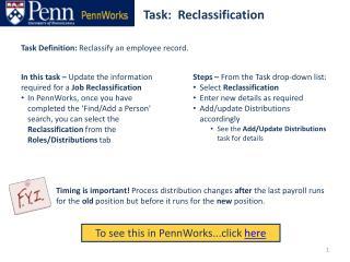 Task:  Reclassification