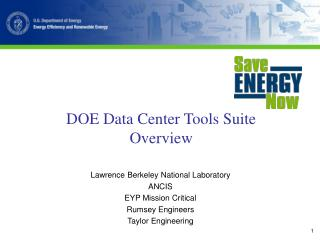 DOE Data Center Tools Suite Overview