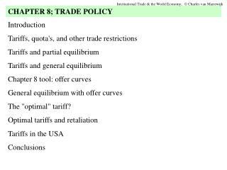 Introduction Tariffs, quota's, and other trade restrictions Tariffs and partial equilibrium