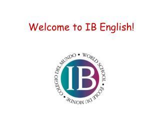 Welcome to IB English!