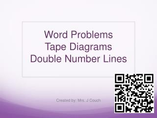 Word Problems  Tape Diagrams Double Number Lines
