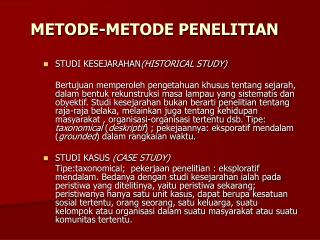 METODE-METODE PENELITIAN