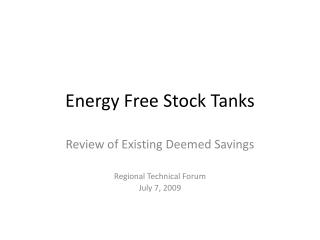 Energy Free Stock Tanks