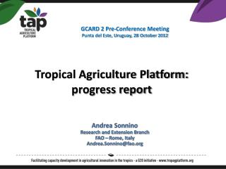 Tropical Agriculture Platform: progress report