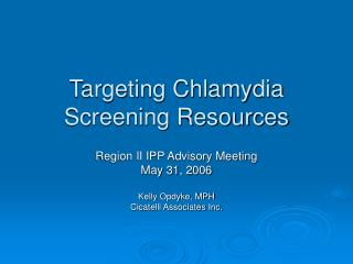 Targeting Chlamydia Screening Resources