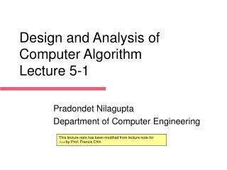 Design and Analysis of Computer Algorithm Lecture  5-1