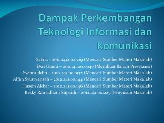 Dampak Perkembangan Teknologi Informasi dan Komunikasi