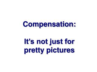 Compensation:  It's not just for pretty pictures