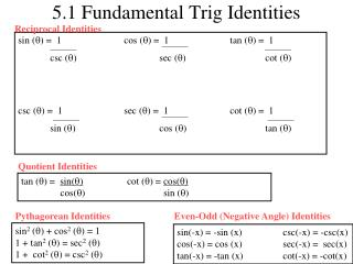 5.1 Fundamental Trig Identities