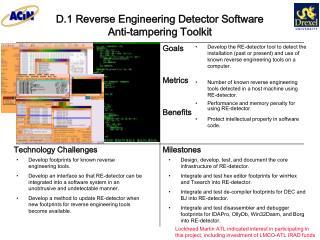D.1 Reverse Engineering Detector Software  Anti-tampering Toolkit