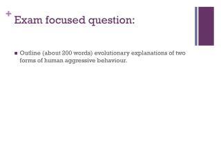 Exam focused question: