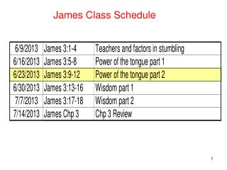 James Class Schedule