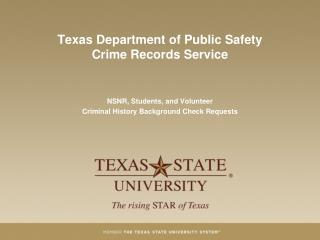 Texas Department of Public Safety  Crime Records Service