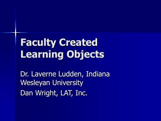 Faculty Created Learning Objects