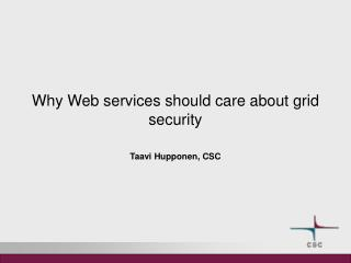 Why Web services should care about grid security