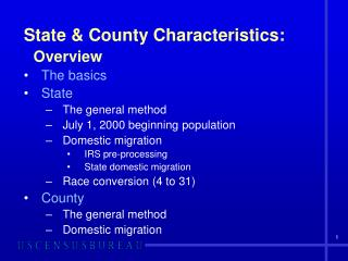 State & County Characteristics: Overview