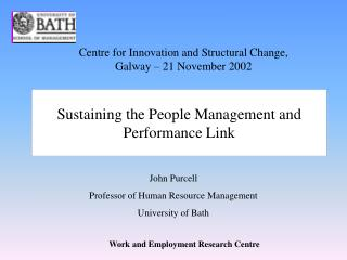 Sustaining the People Management and Performance Link