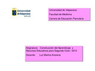 Asignatura:   Construcción del Aprendizaje  y Recursos Educativos para Segundo Ciclo / 2012