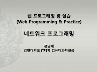 웹 프로그래밍 및 실습 (Web Programming & Practice) 네트워크 프로그래밍 문양세 강원대학교  IT 대학 컴퓨터과학전공