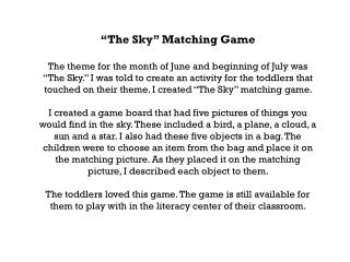 """""""The Sky"""" Matching Game"""