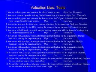 Valuation bias: Tests