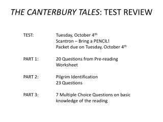 THE CANTERBURY TALES : TEST REVIEW