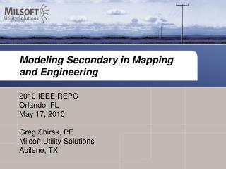 Modeling Secondary in Mapping and Engineering