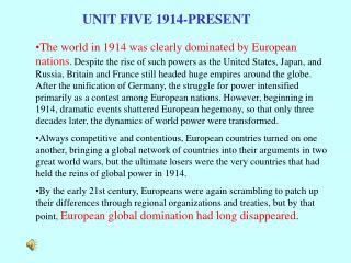 UNIT FIVE 1914-PRESENT