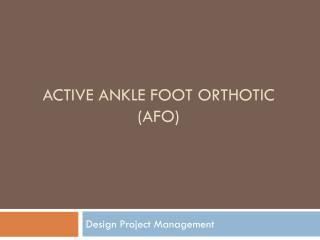 Active Ankle  Foot  Orthotic ( AFO)