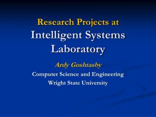 Research Projects at  Intelligent Systems Laboratory