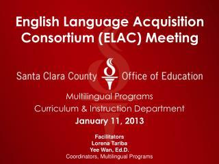 English Language Acquisition Consortium (ELAC) Meeting