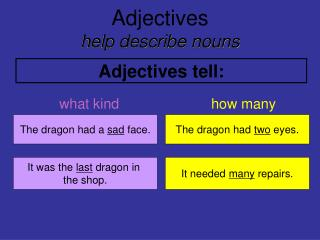 Adjectives help describe nouns