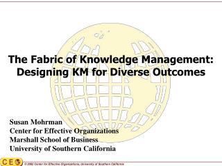 The Fabric of Knowledge Management:   Designing KM for Diverse Outcomes