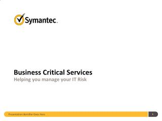 Business Critical Services Helping you manage your IT Risk