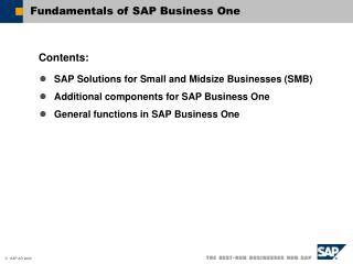 Fundamentals of SAP Business One