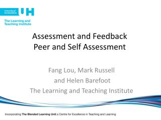 Assessment and Feedback Peer and Self Assessment